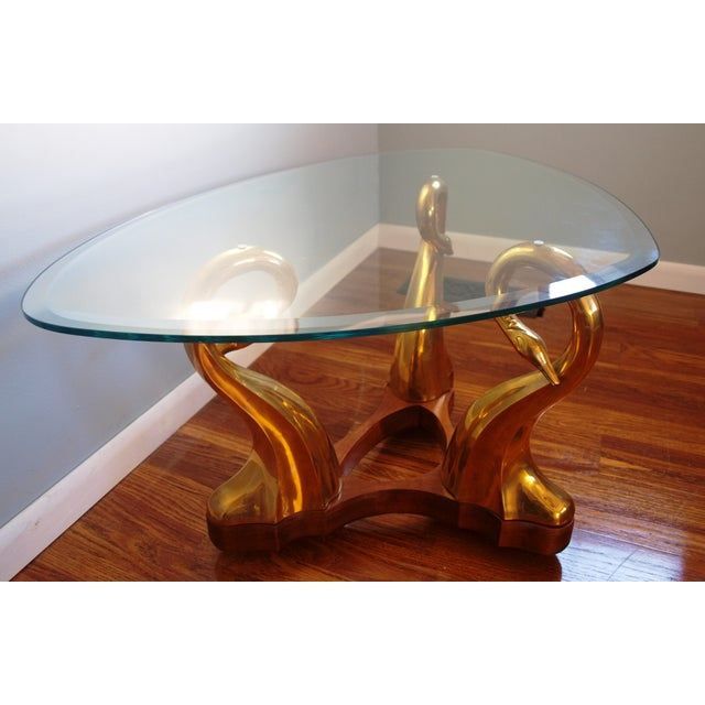 Hollywood Regency Brass Swan & Glass Coffee Table For Sale - Image 3 of 7