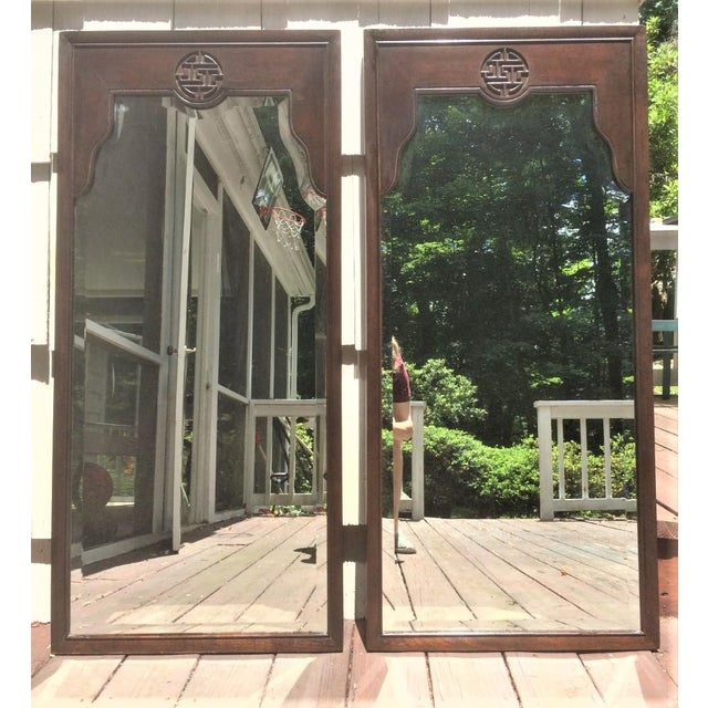 Vintage Chinoiserie Drexel Wood Mirrors - a Pair For Sale In New York - Image 6 of 7