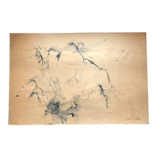 1970s Kenneth Callahan (1905-1986) Seattle, Wa. Sumi Ink on Paper. Mountain Range. For Sale