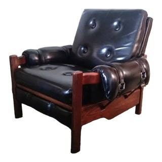 1970's Chic Tufted Vinyl & Wood Lounge Chair For Sale