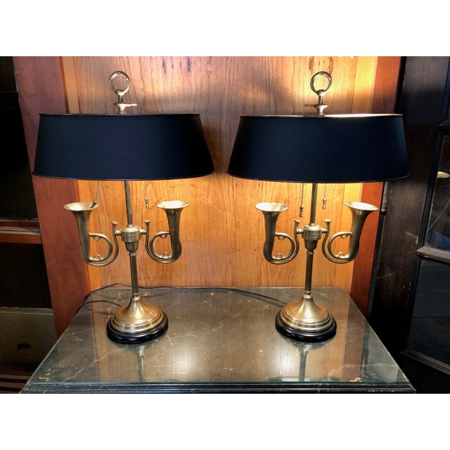 Wonderful pair of Vintage 1950s Brass French Horn Bouillotte Table Lamps. Sturdy, solid condition. Vintage, working fine,...