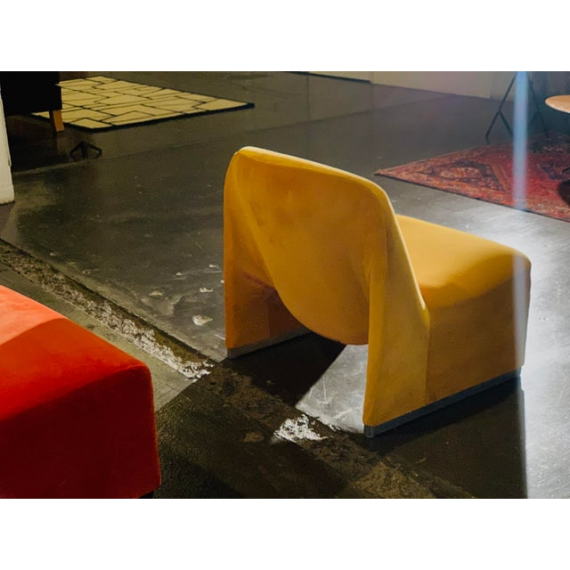 "Giancarlo Piretti 1970s Giancarlo Piretti ""Alky"" Chair in Goldenrod Velvet For Sale - Image 4 of 12"