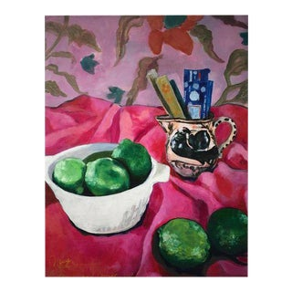 """Neicy Frey """"Incense & Limes"""" Original Still Life Painting"""