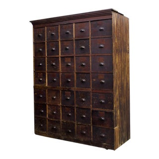 Massive Antique Multi-Drawer Storage Cabinet, C. 1890s For Sale