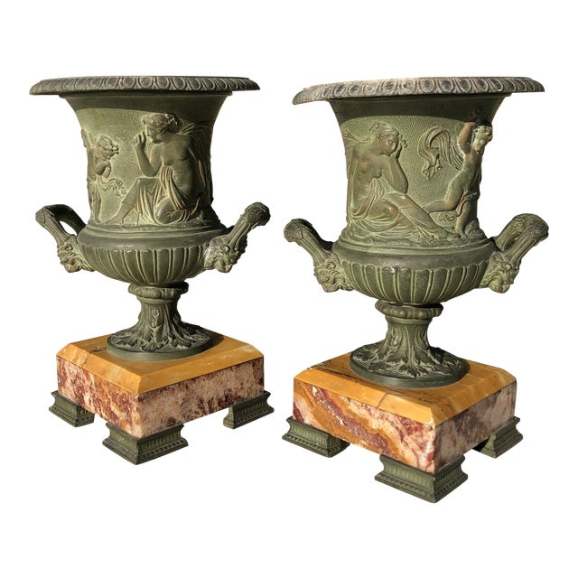 1920s Antique French Egg & Dart Victorian Marble Cast Urns- a Pair For Sale