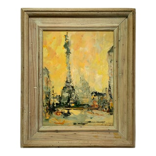 1957 Italian Abstract Cityscape Oil Painting Signed Jean Wagner Willhite, Framed For Sale