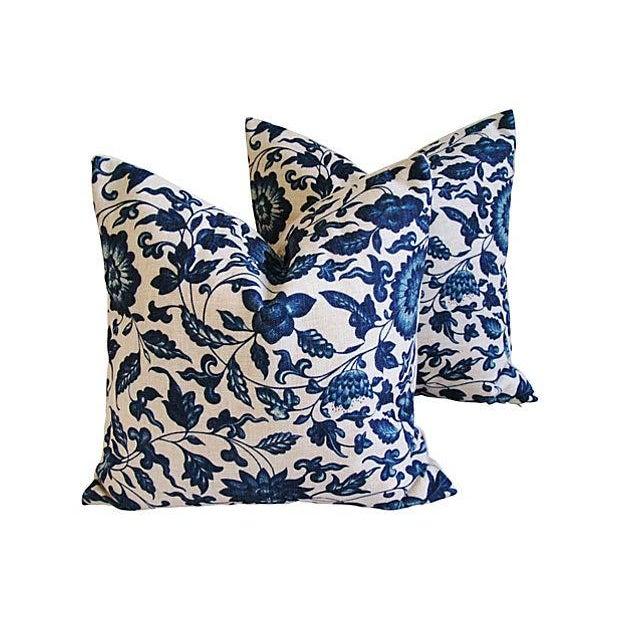 Indigo & White Down & Feather Pillows - A Pair - Image 2 of 7