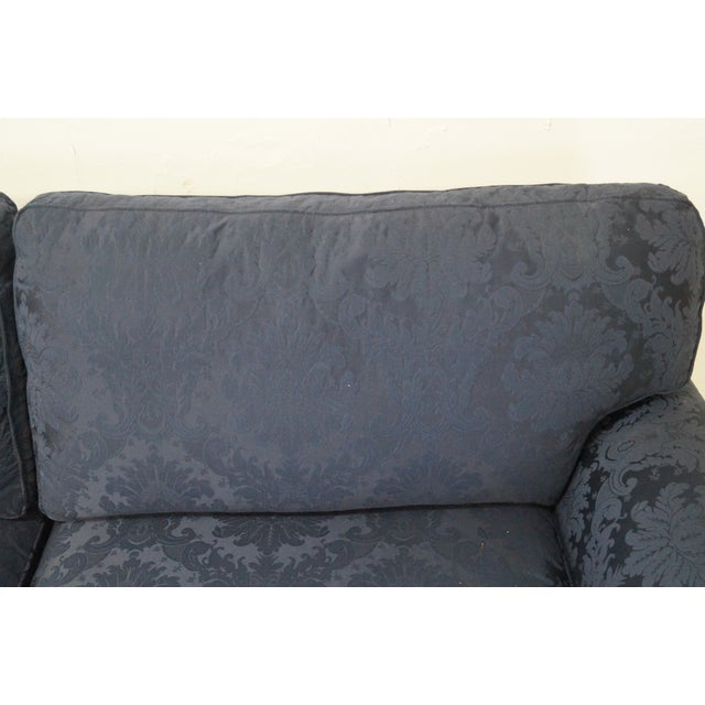 Blue Damask Traditional Upholstered Councill Sofa - Image 4 of 10