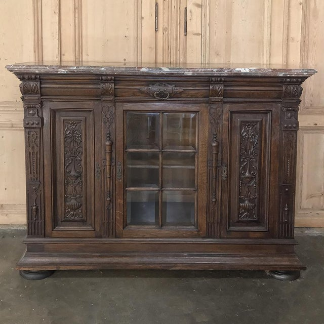 Louis XIV Pair 19th Century French Louis XIV Marble Top Display Buffets For Sale - Image 3 of 13