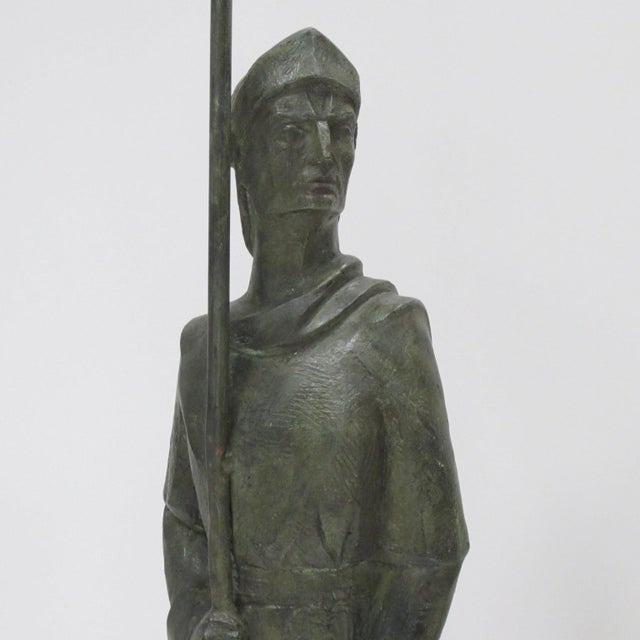 French Life-Size Bronze Statues Sculpture Middle Ages Knight in Armor, a Pair - Image 8 of 11