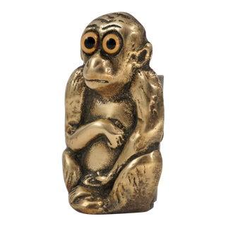 1920s Brass Monkey Pen Holder For Sale