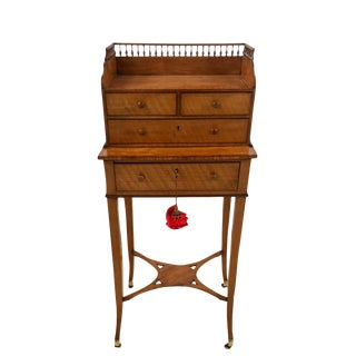18th Century English George III Satinwood Bonheur De Jour Writing Desk For Sale