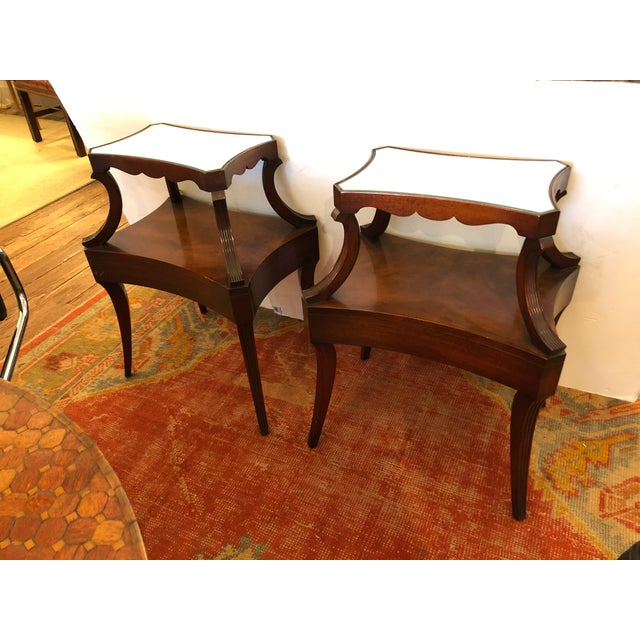 1930s Traditional Grosfeld House Crotch Mahogany 2-Tier Nightstand - a Pair For Sale - Image 11 of 13