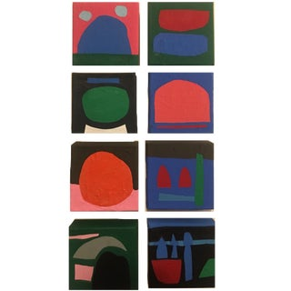 Brooks Burns Original Abstract Acrylic Paintings - Set of 8 For Sale
