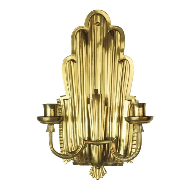 Swedish Grace Brass Sconces - A Pair - Image 1 of 6