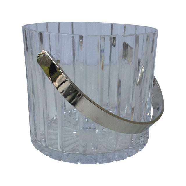 Crystal Faceted Ice Bucket With Chrome Handle - Image 1 of 11