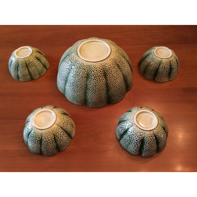 1960s Majolica Cantelope Salad Bowls - Set of 5 For Sale - Image 10 of 12