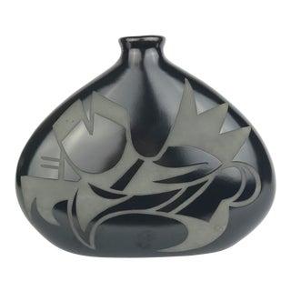 George Garrett Modern Southwestern Style Black Studio Art Vase For Sale