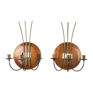 Mid-Century Modern Wood & Brass Candle Sconces – A Pair