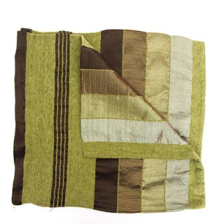 Striped Green & Brown Safi Pillow Cases - A Pair For Sale