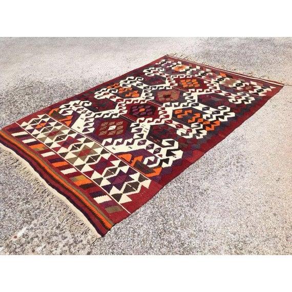 Boho Chic Vintage Turkish Kilim Rug For Sale - Image 3 of 6
