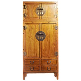 19th Century Large Natural Elmwood Compound Cabinet with Medallions from China For Sale