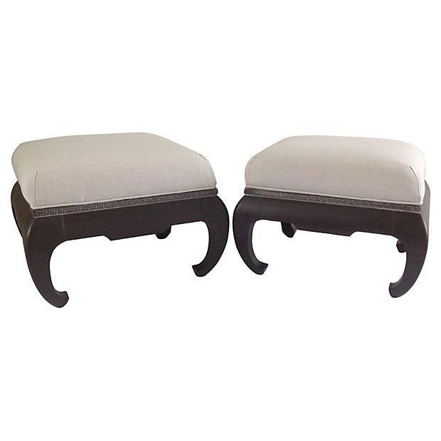 Vintage; 1970s pair of Century Furniture Company's, Ming-Style benches with raised relief Greek Key scroll design to...
