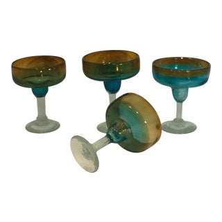 Vintage Hand Blown Amber Turquoise Mix Matched Margarita Glasses - Set of 4 For Sale
