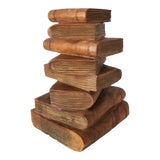 Image of Vintage Figurative Handmade Carved Wood Staked Books Side Table For Sale