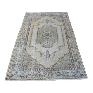 1960s Vintage Turkish Oushak Hand-Knotted Rug - 3′11″ × 6′11″ For Sale