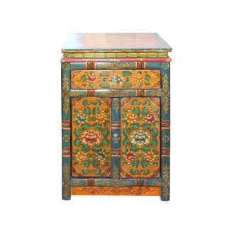 Tibetan Oriental Teal Blue Yellow Orange Floral End Table Nightstand For Sale