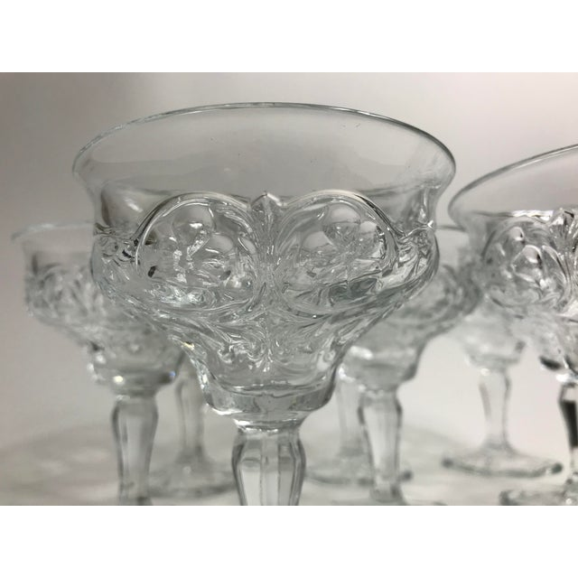 Art Deco Art Nouveau Rock Crystal Clear Coupe Champagne Glasses by McKee - Set of 8 For Sale - Image 3 of 7