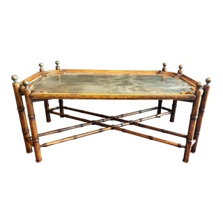 Vintage Brass Tray-Top Coffee Table With Ball Finial Legs For Sale