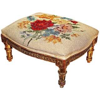 Late 19th Century Antique French Louis XVI Style Gilt Footstool For Sale