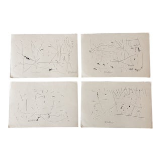 Gallery Wall Collection 4 Original 1960's Robert Cooke Abstract Ink Drawings- Set of 4 For Sale