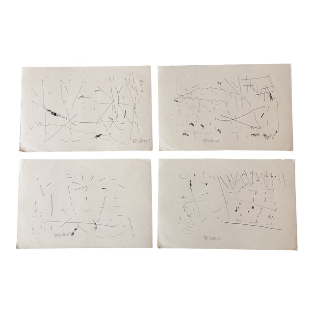 Gallery Wall Collection Original 1960's Robert Cooke Abstract Ink Drawings - Set of 4 For Sale
