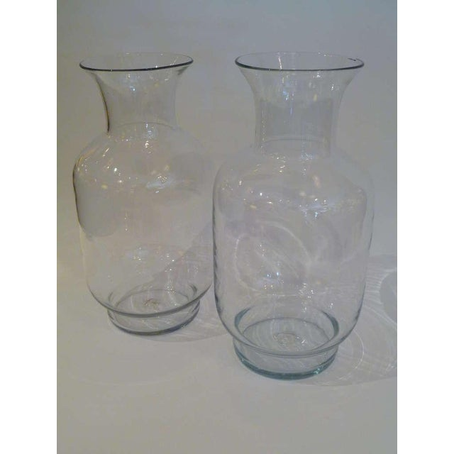 Exceptional Pair Of Large 70s Blenko Classic Urn Form Crystal Vases