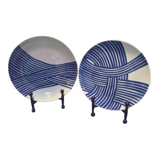 John Newdigate for West Elm Mid Century Styled Decorative Plates - A Pair For Sale