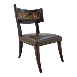 Modern Transitional Ferguson Copland Brown Hair on Hide Klismos Chair For Sale