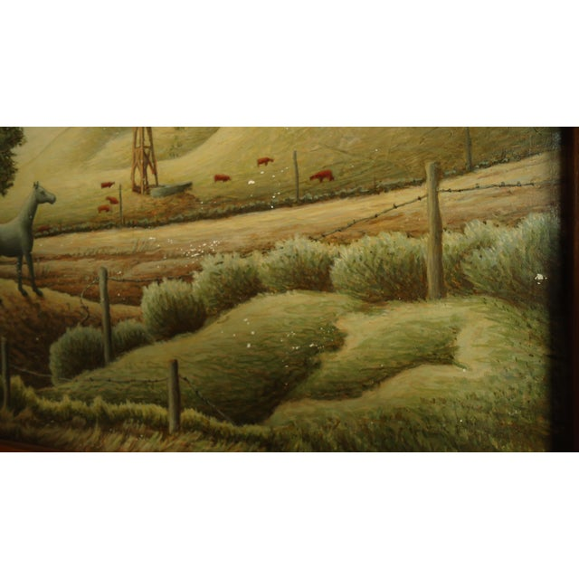 1952 Aaron Pyle Landscape With Horses Regionalist Painting For Sale - Image 5 of 11