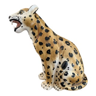 Vintage Italian Hollywood Regency Style Ceramic Leopard For Sale