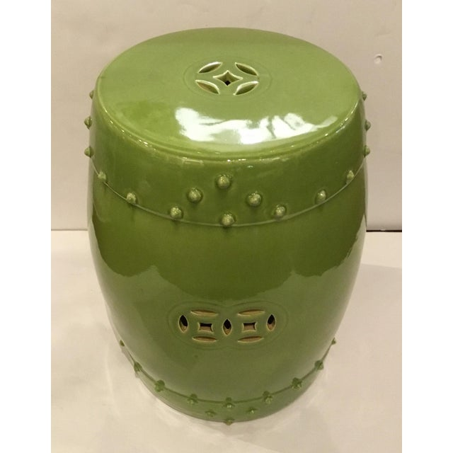 Stylish Asian Modern Drum Lime Glaze Garden Stool, studding detail, showroom floor sample