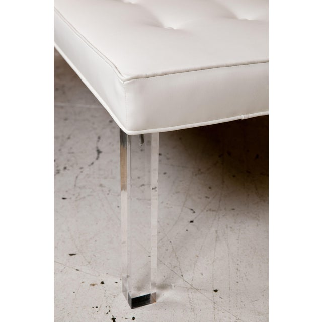 Mid-Century Lucite Tufted White Vinyl Bench For Sale - Image 5 of 6