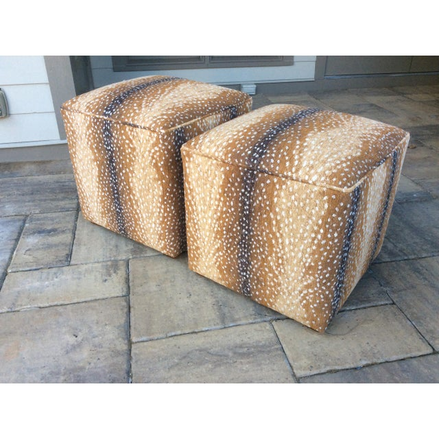 Gorgeous newly upholstered cube ottomans! Covered in a plush antelope chenille in shades of soft camel, rich caramel and...