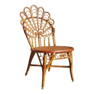 An Antique Heywood Brother Rattan / Wicker Single Side / Vanity Chair For Sale