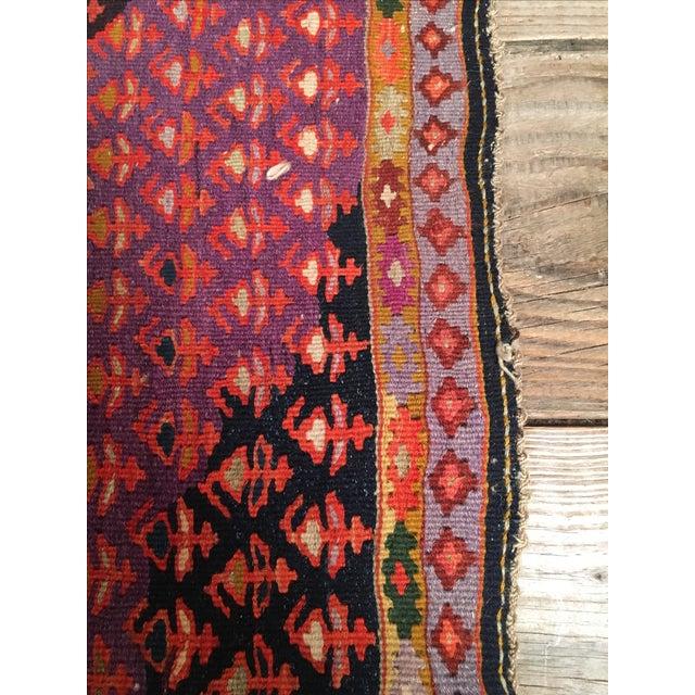 "Vintage Red & Purple Senneh Kilim - 3'4"" X 4'5"" - Image 5 of 9"