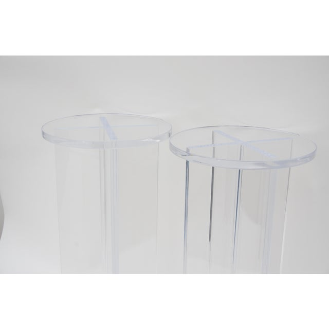 Plastic Custom Bespoke Lucite Side Tables - a Pair For Sale - Image 7 of 8