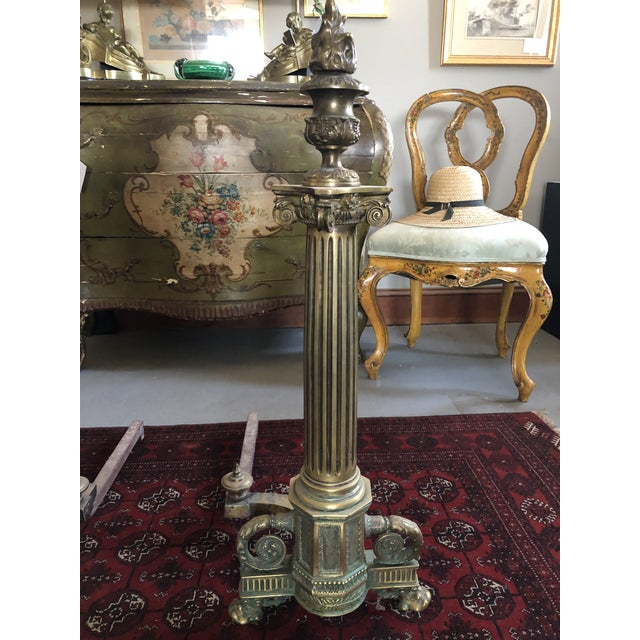 C. 1900 Neo Classical Brass Pillar Fireplace Andirons - a Pair For Sale - Image 4 of 13