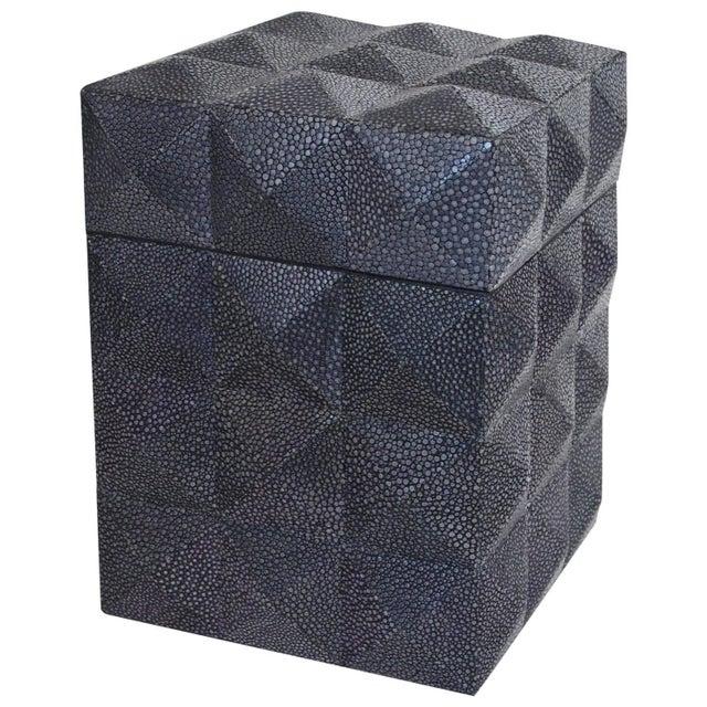 Black Pyramid Black Shagreen Box by Fabio Ltd For Sale - Image 8 of 8