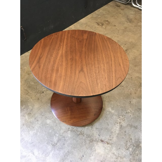Incredible little pedestal base side table in solid Walnut. Extremely well made, in the manner of Kipp Stewart tables for...